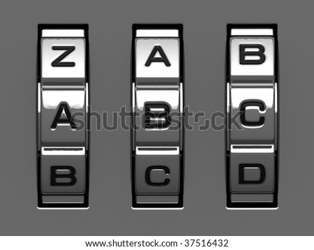 A, B, C letters from combination lock alphabet - stock photo