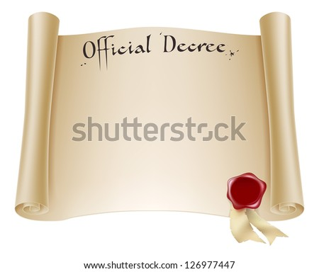 A background design element of an antique historical paper certificate scroll document or decree with red wax seal. - stock photo