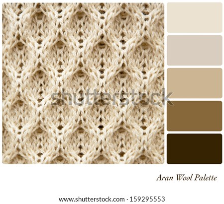 A background of knitted Aran wool, in a colour palette with complimentary colour swatches - stock photo
