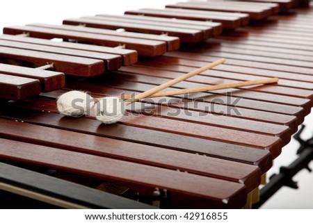 A background of marimba and mallots - stock photo