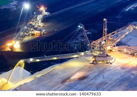 A backloader and a bucket wheel excavator in a lignite mine - stock photo