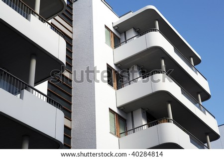 a balcony front on a Building Exterior - stock photo