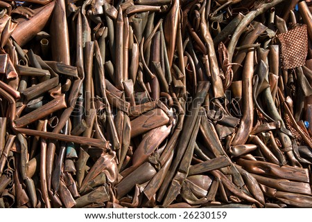 A bale of recycling copper - stock photo