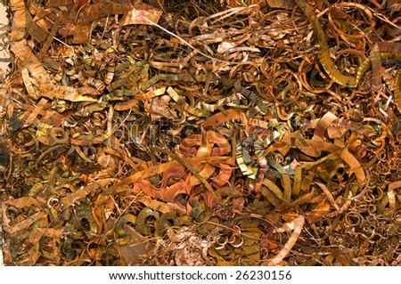 A bale of recycling copper chips - stock photo