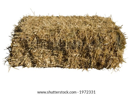 a bale of straw on a white background - stock photo