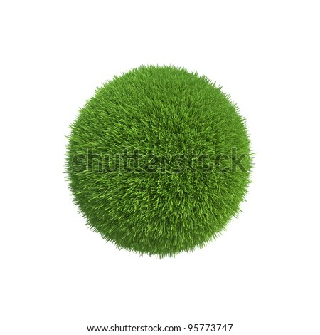 A ball of green grass symbolizes the conservation of energy on the planet - stock photo