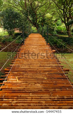 A bamboo bridge in a tropical botanical garden. Taken in Kauai, Hawaii. - stock photo