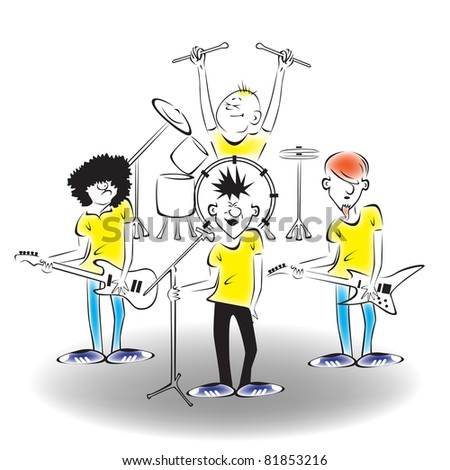 A band on stage.Raster version. - stock photo