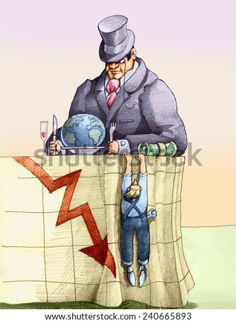 a banker sat at the table getting ready to eat the world, a worker is clinging to his tablecloth on which is drawn a graph of business in crisis - stock photo