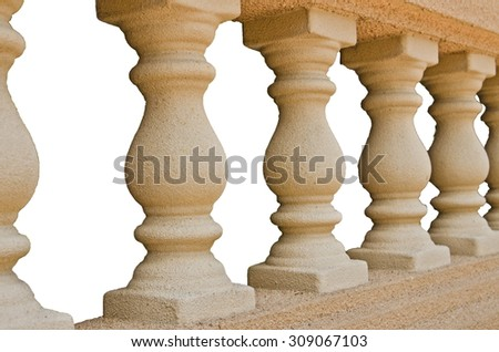 A bannister pillars made of stone with white background. - stock photo