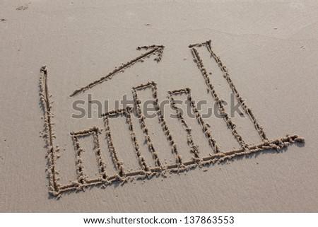 A bar chart drawn on the beach. - stock photo