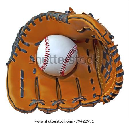 A baseball inside a baseball glove over white background - stock photo