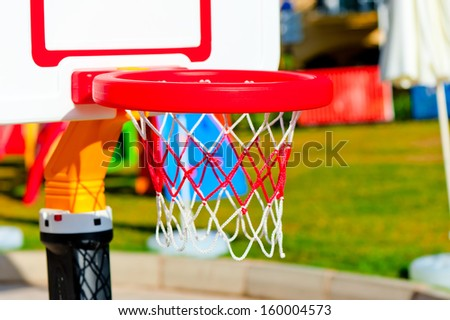 a basketball hoop at the playground close-up - stock photo
