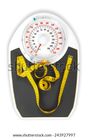 A bathroom scale with a measuring tape, weight loss concept  - stock photo