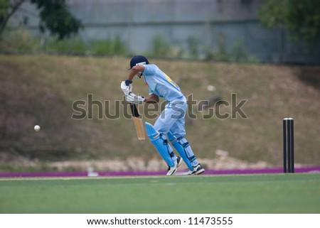 A batsman in action - stock photo