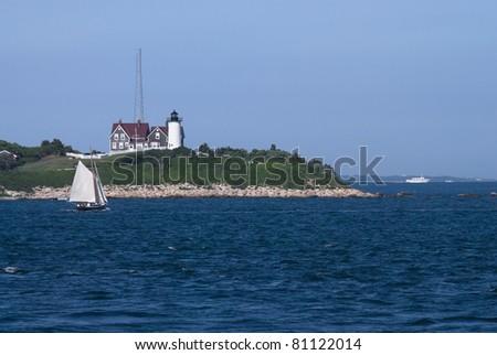 A bay view of the Nobska Lighthouse near Woods Hole, Cape Cod Massachusetts. - stock photo