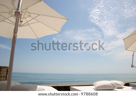 A beach lounge to relax - stock photo