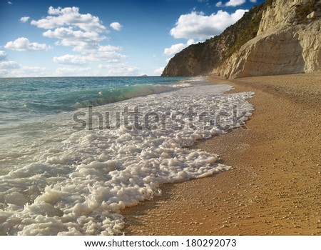 A beach scene at Porto Katsiki in Greece, Lefkada - stock photo