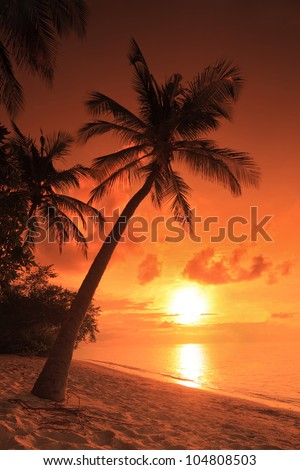 A beach scene with sunset in the background at Kuredu island, Maldives, Lhaviyani atoll - stock photo