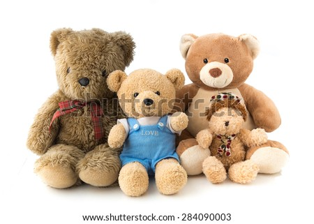 A bear family doll in white isolation, represent happy family. - stock photo