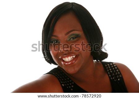 A beautiful african american woman smiles as she models her new hair style during her Fashion / Beauty / Hairstyle photo shoot. isolated on white with room for your text - stock photo