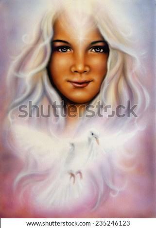 A beautiful airbrush painting of a young girls angelic face with radiant white hair and a shining wing dove  profile portrait eye contact make up artist - stock photo