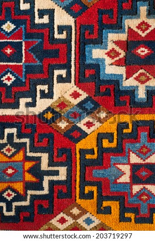 a beautiful and colored turkish kilim - stock photo