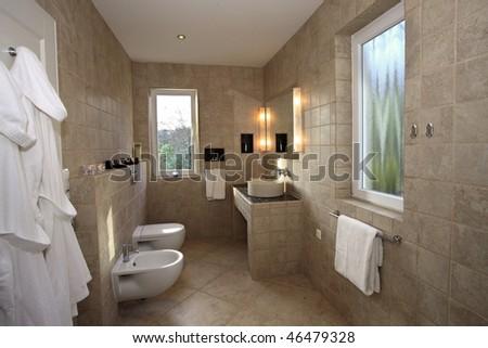 A beautiful and modern bathroom - stock photo