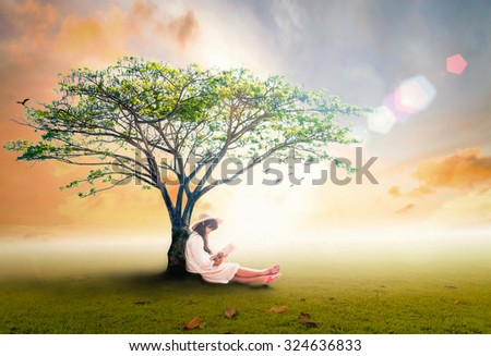 A beautiful asian girl reading a book under big tree over golden autumn sunset background. Mental Health Girl Child Happy Nature Kid Park Peace View Grass Cute Novel Relax Away Holiday CSR concept. - stock photo