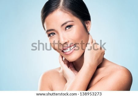 A beautiful Asian model posing. - stock photo