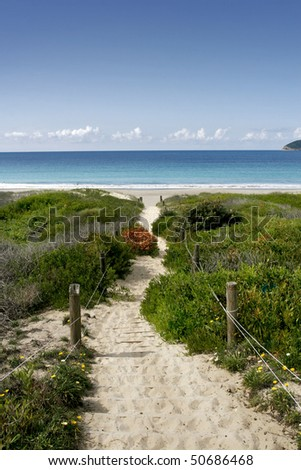 a beautiful australian beach at myall lakes central coast nsw - stock photo