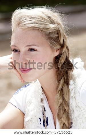 A beautiful blonde girl - stock photo