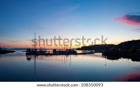 A beautiful blue hour over the Lund Harbor in British Columbia, Canada. - stock photo