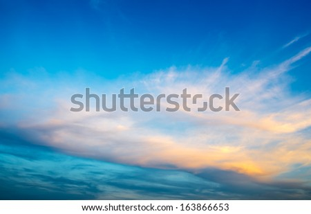 A Beautiful Blue Sky in Sunset Time - stock photo