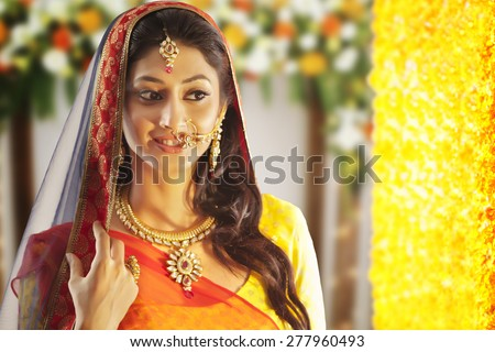 A beautiful bride smiling - stock photo