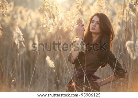 A beautiful brunette girl posing in a field on autumn.Art photo. - stock photo