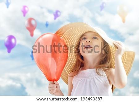 a beautiful child enjoying life - stock photo