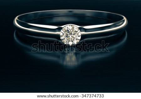 A beautiful diamond ring in shades of vintage 3d rendering. - stock photo
