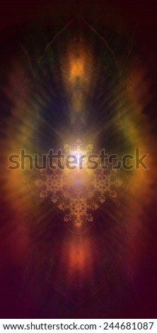 A beautiful fractal ornament radiating white light and colorful auric lights  - stock photo