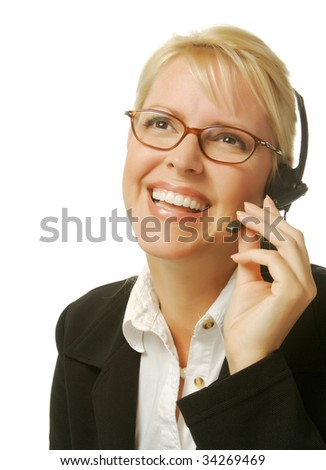 A beautiful friendly secretary/telephone operator. - stock photo