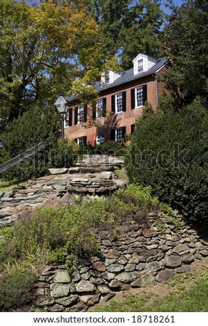 A beautiful Georgian style house in Waterford, VA. - stock photo