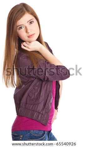 a beautiful girl is posing. isolated on white background - stock photo