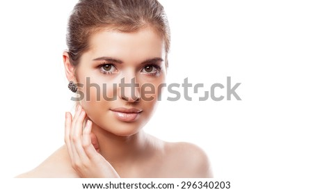 A beautiful girl with make-up. Isolated on a white background - stock photo