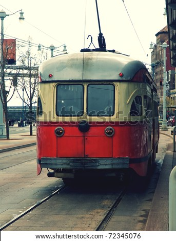 A beautiful historic tram still operating in the streets of San Francisco. USA. - stock photo