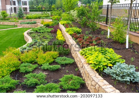A beautiful home garden, near Moscow - stock photo