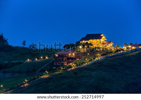 A beautiful house on the hill - stock photo