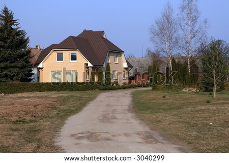 A beautiful house typical of an new house in Lithuania - stock photo