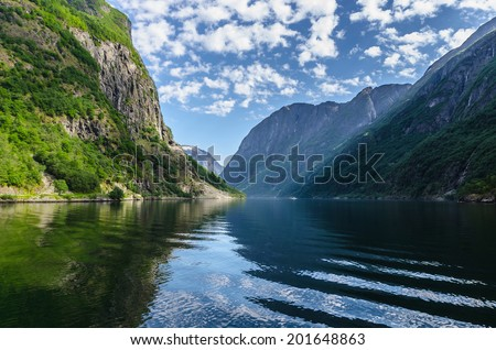 A beautiful lanscape in Naeroyfjord, Norway - stock photo