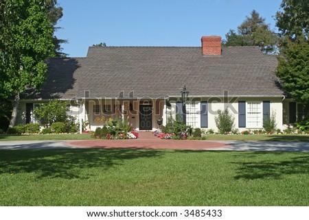 a beautiful modern day home in California - stock photo