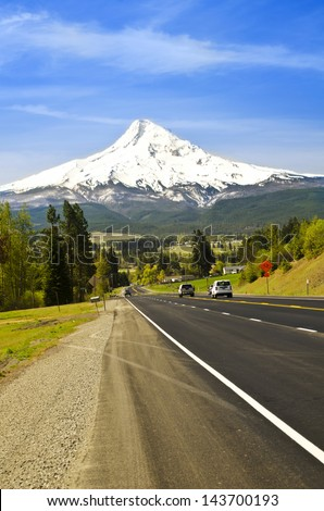 A beautiful mountain view from road - stock photo